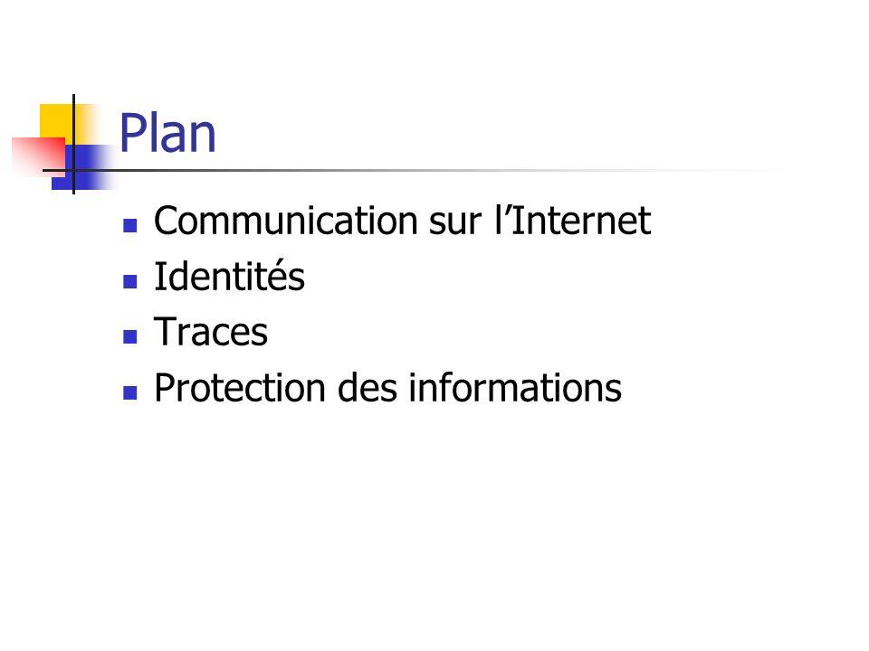 Plan Communication sur lInternet Identités Traces Protection des informations