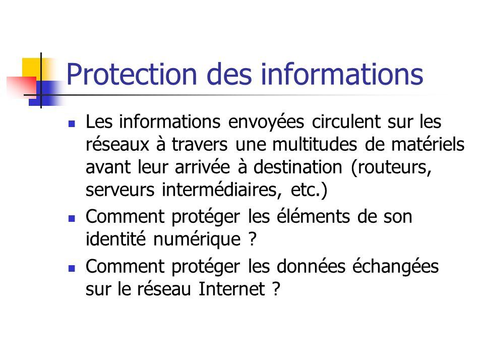 Protection des informations Les informations envoyées circulent sur les réseaux à travers une multitudes de matériels avant leur arrivée à destination