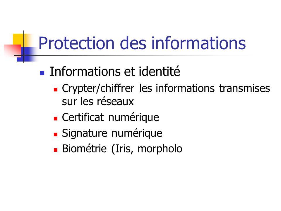 Protection des informations Informations et identité Crypter/chiffrer les informations transmises sur les réseaux Certificat numérique Signature numér