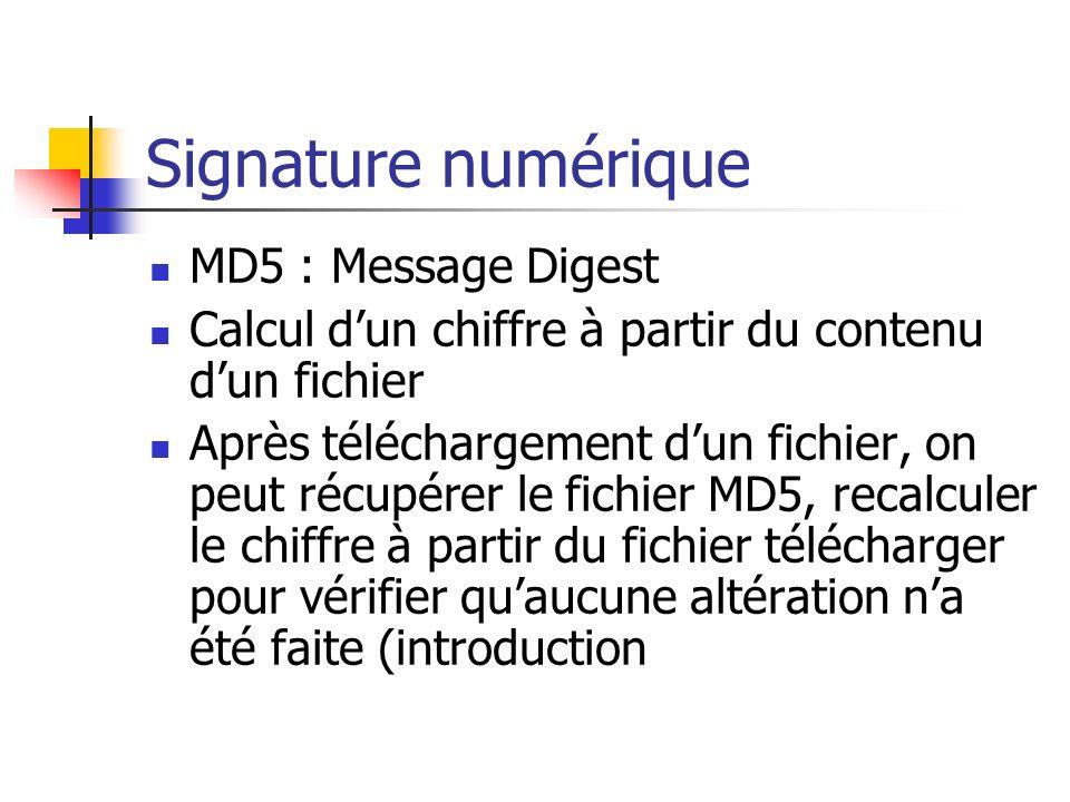 Signature numérique MD5 : Message Digest Calcul dun chiffre à partir du contenu dun fichier Après téléchargement dun fichier, on peut récupérer le fic