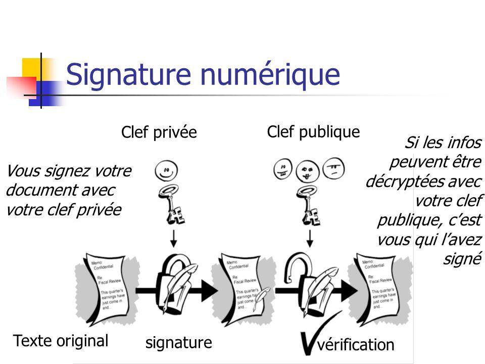Signature numérique Clef privée Clef publique Texte original signature vérification Vous signez votre document avec votre clef privée Si les infos peu