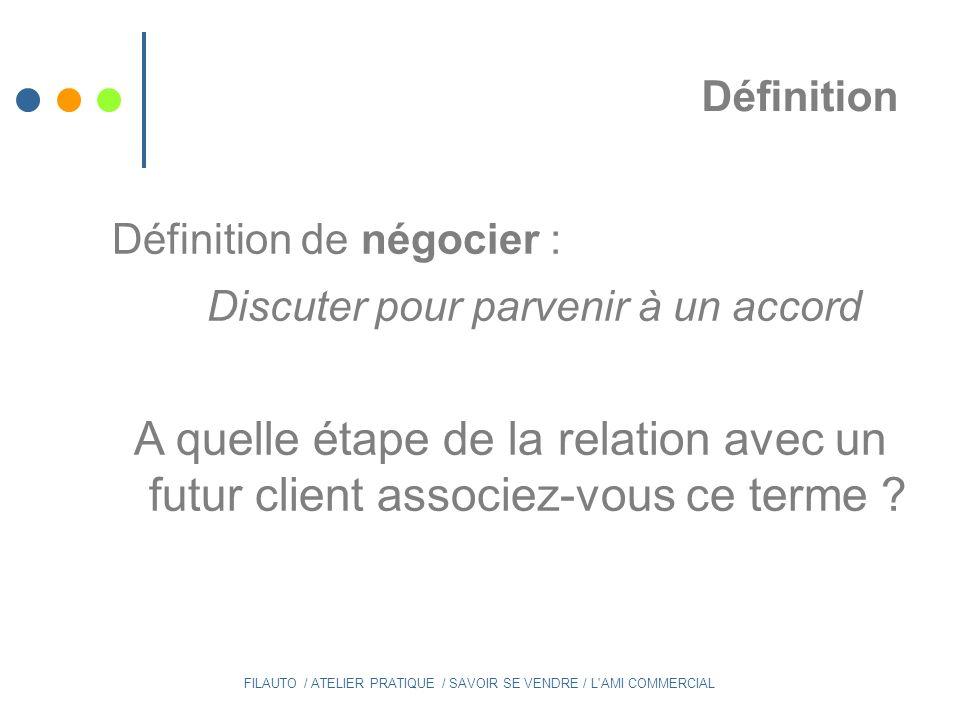 5 ème étape : Relance / Négociation Et vous ?...Est-ce que vous relancez .