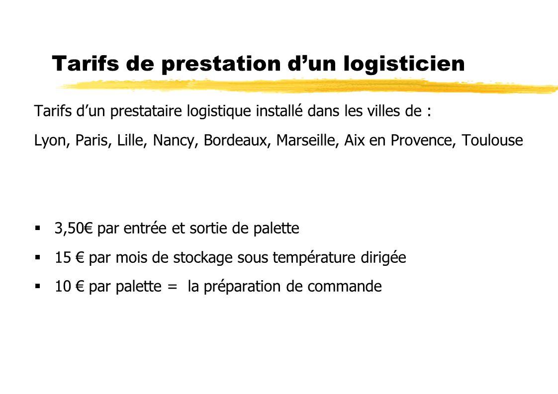 Tarifs de prestation dun logisticien Tarifs dun prestataire logistique installé dans les villes de : Lyon, Paris, Lille, Nancy, Bordeaux, Marseille, A