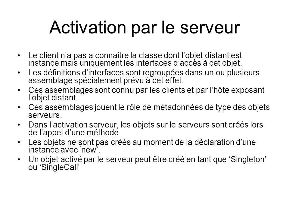 Activation par le serveur Le client na pas a connaitre la classe dont lobjet distant est instance mais uniquement les interfaces daccès à cet objet.