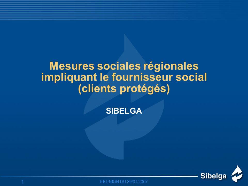 REUNION DU 30/01/2007 1 Mesures sociales régionales impliquant le fournisseur social (clients protégés) SIBELGA
