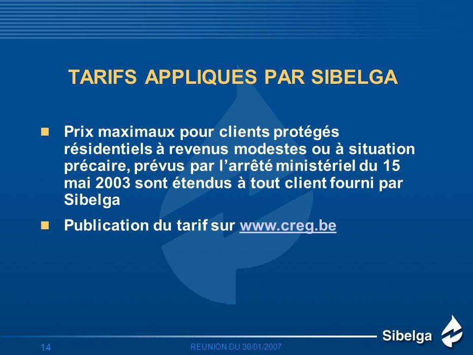 REUNION DU 30/01/2007 14 TARIFS APPLIQUES PAR SIBELGA Prix maximaux pour clients protégés résidentiels à revenus modestes ou à situation précaire, prévus par larrêté ministériel du 15 mai 2003 sont étendus à tout client fourni par Sibelga Publication du tarif sur www.creg.bewww.creg.be