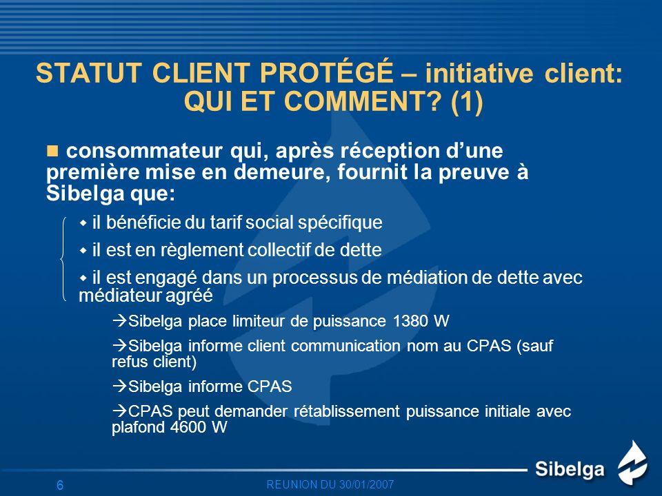 REUNION DU 30/01/2007 6 STATUT CLIENT PROTÉGÉ – initiative client: QUI ET COMMENT.