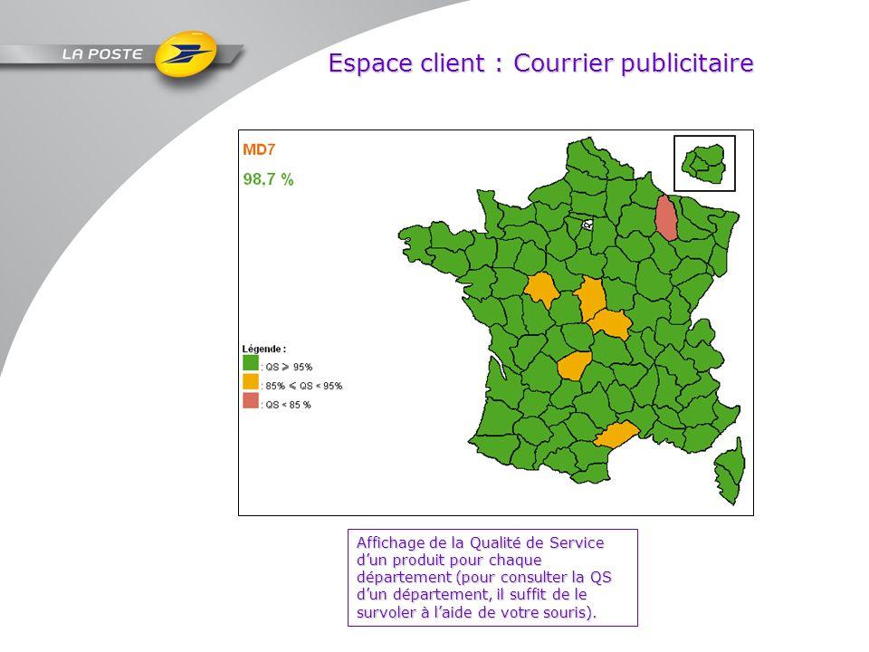 Espace client : Courrier publicitaire Affichage de la Qualité de Service dun produit pour chaque département (pour consulter la QS dun département, il