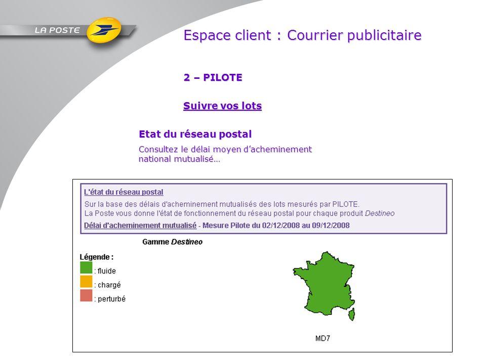 Espace client : Courrier publicitaire 2 – PILOTE Etat du réseau postal Consultez le délai moyen dacheminement national mutualisé… Suivre vos lots