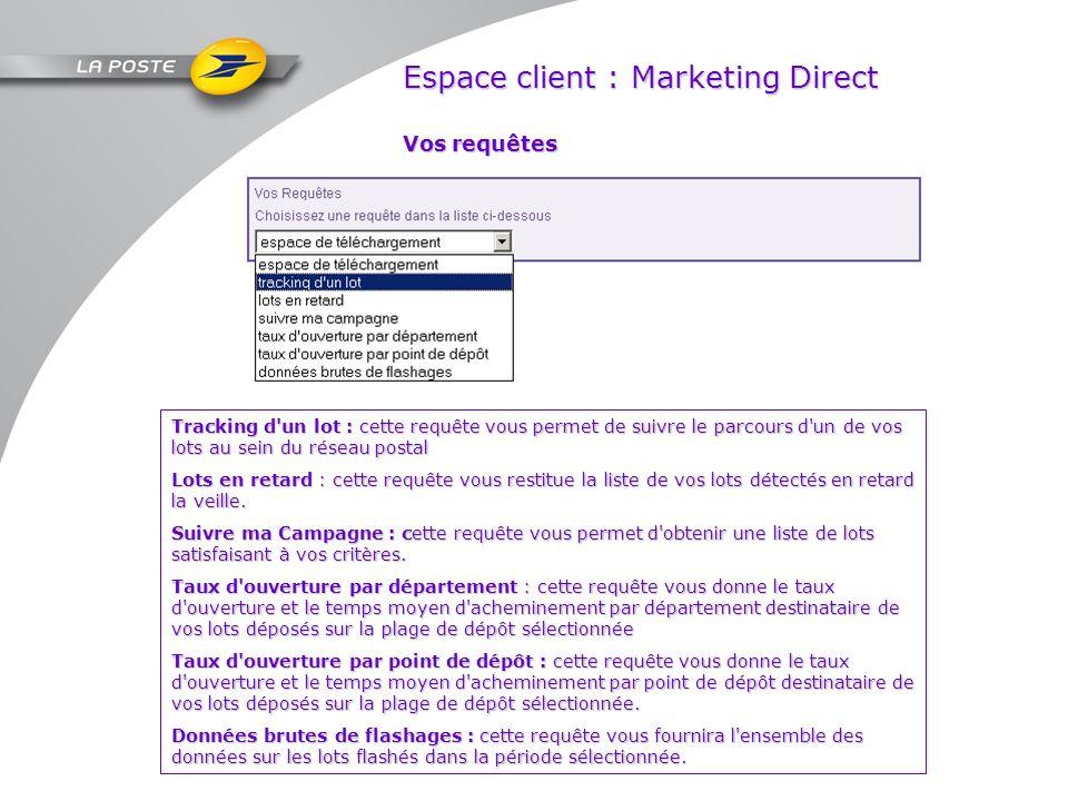 Espace client : Marketing Direct Vos requêtes Tracking d'un lot : cette requête vous permet de suivre le parcours d'un de vos lots au sein du réseau p