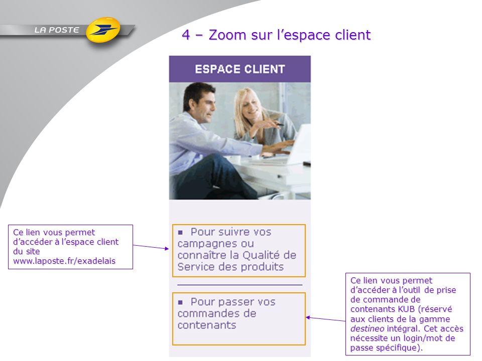 4 – Zoom sur lespace client Ce lien vous permet daccéder à lespace client du site www.laposte.fr/exadelais Ce lien vous permet daccéder à loutil de pr