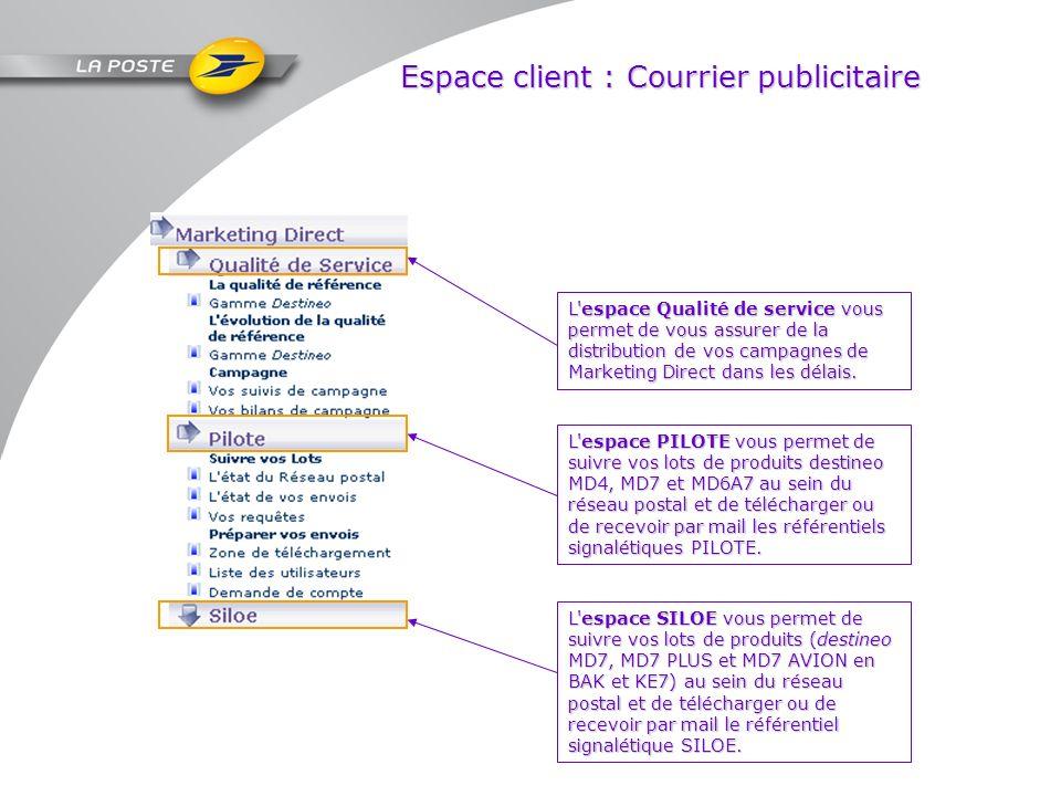 Espace client : Courrier publicitaire L'espace Qualité de service vous permet de vous assurer de la distribution de vos campagnes de Marketing Direct