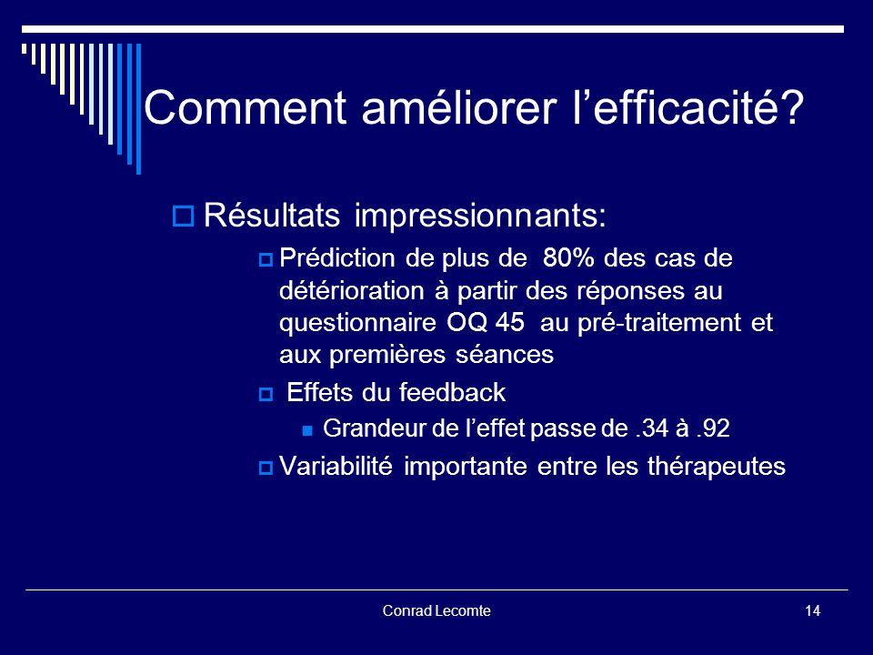 Conrad Lecomte Comment améliorer lefficacité? Résultats impressionnants: Prédiction de plus de 80% des cas de détérioration à partir des réponses au q