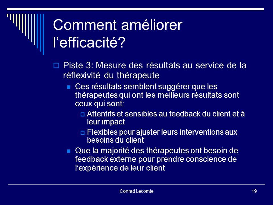 Conrad Lecomte Comment améliorer lefficacité? Piste 3: Mesure des résultats au service de la réflexivité du thérapeute Ces résultats semblent suggérer