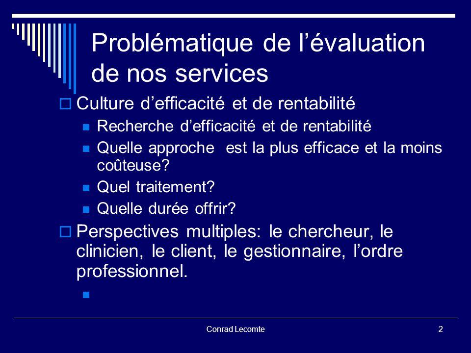 Conrad Lecomte Problématique de lévaluation de nos services Mesurer et démontrer lefficacité de nos interventions: incontournable.