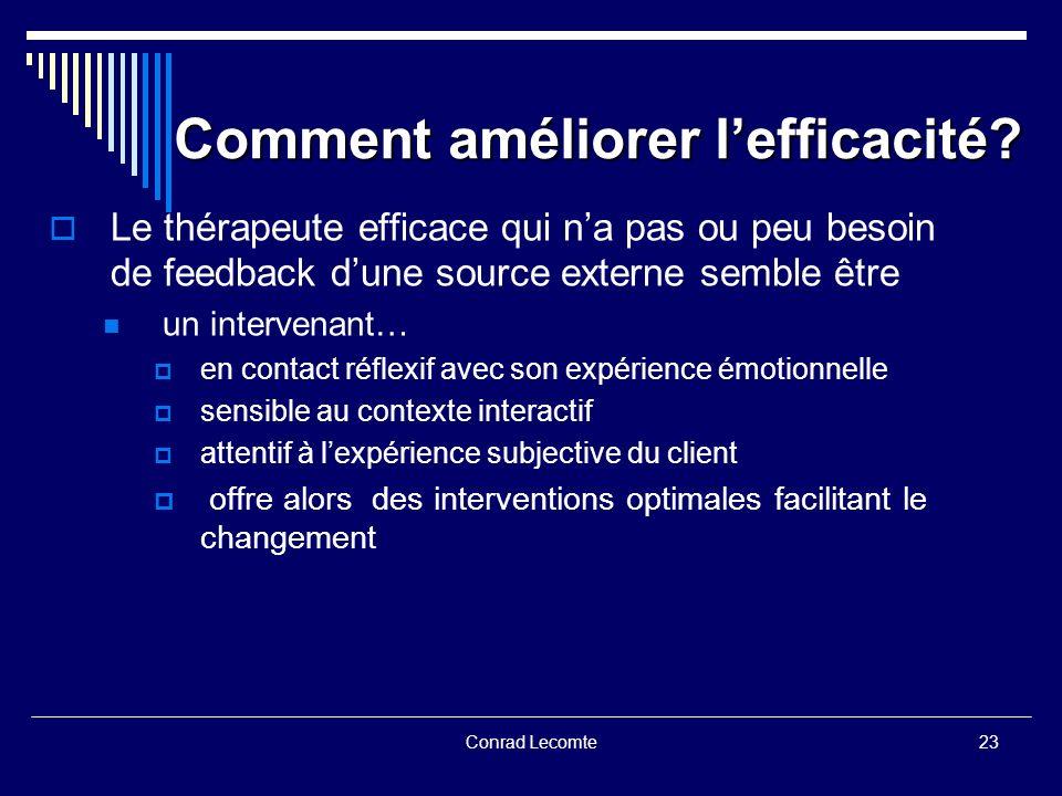 Conrad Lecomte Comment améliorer lefficacité? Le thérapeute efficace qui na pas ou peu besoin de feedback dune source externe semble être un intervena