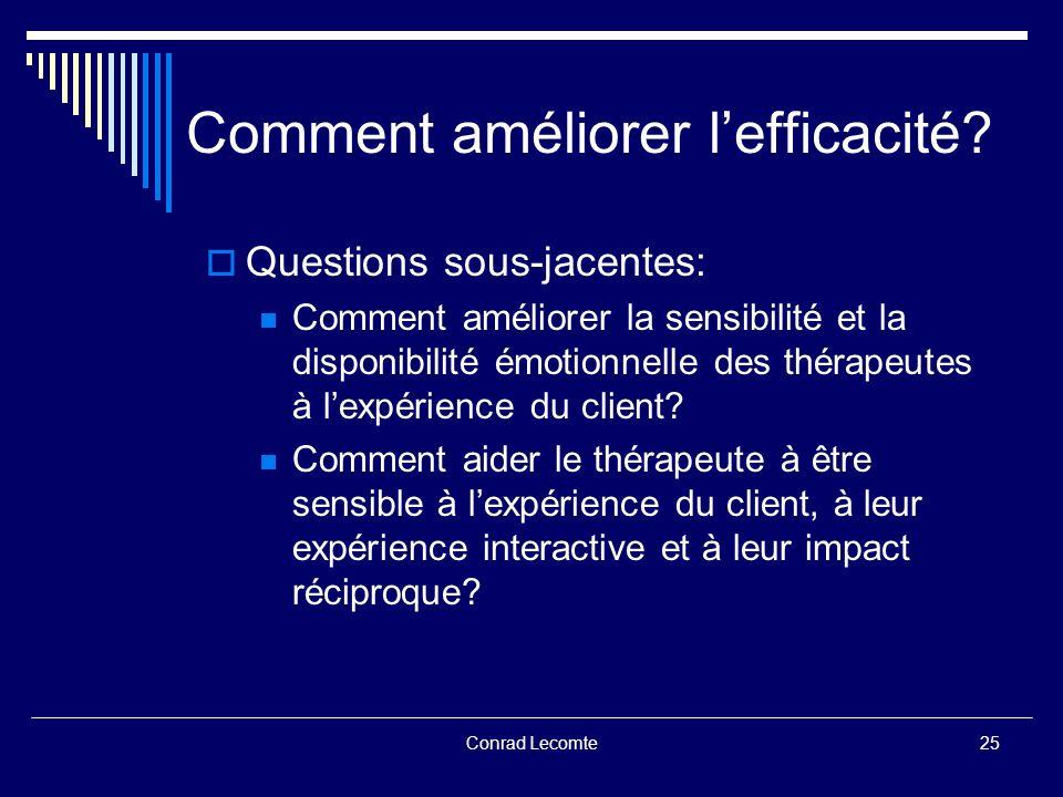 Conrad Lecomte Comment améliorer lefficacité? Questions sous-jacentes: Comment améliorer la sensibilité et la disponibilité émotionnelle des thérapeut