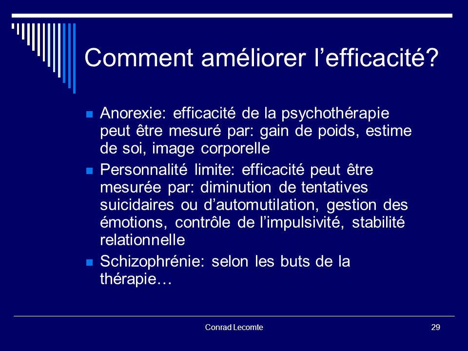 Conrad Lecomte Comment améliorer lefficacité? Anorexie: efficacité de la psychothérapie peut être mesuré par: gain de poids, estime de soi, image corp