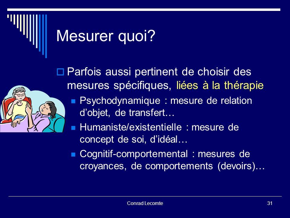 Conrad Lecomte Mesurer quoi? Parfois aussi pertinent de choisir des mesures spécifiques, liées à la thérapie Psychodynamique : mesure de relation dobj