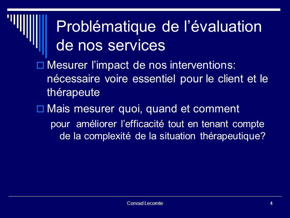 Conrad Lecomte Réalité clinique du terrain Réalité clinique du terrain Comment tenir compte de la réalité du terrain soit: des interactions non-linéaires Thérapeute X Client X Problème X Relation X Techniques-Traitement X Contexte .
