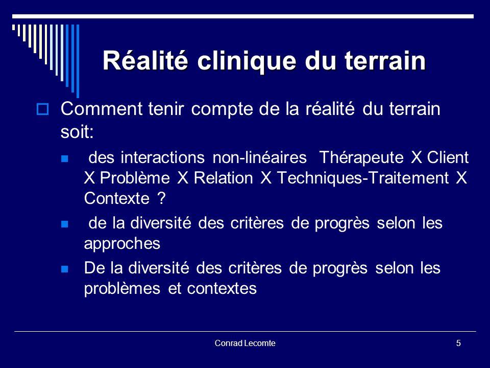 Conrad Lecomte Réalité clinique du terrain Réalité clinique du terrain Comment tenir compte de la réalité du terrain soit: des interactions non-linéai