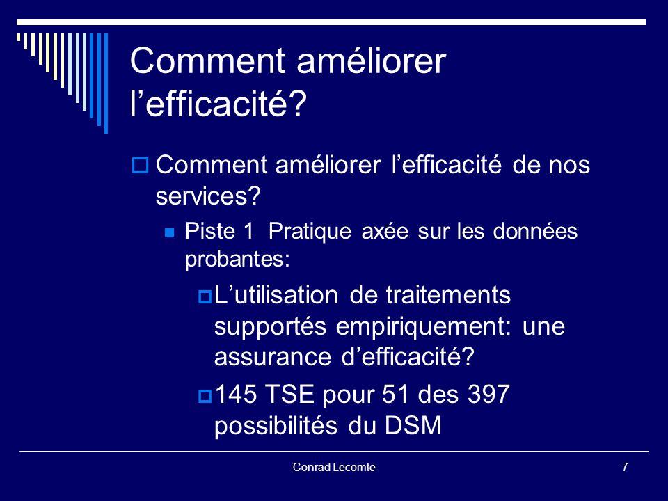 Conrad Lecomte Comment améliorer lefficacité.Quelques données.