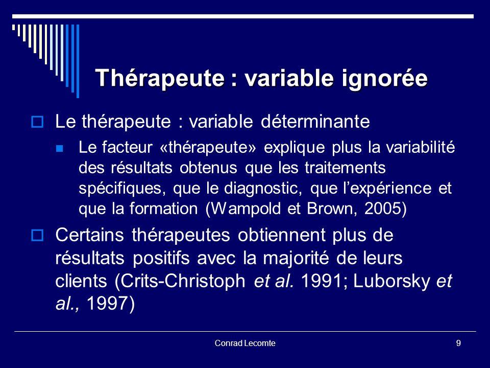 Conrad Lecomte Thérapeute : variable ignorée Le thérapeute : variable déterminante Le facteur «thérapeute» explique plus la variabilité des résultats