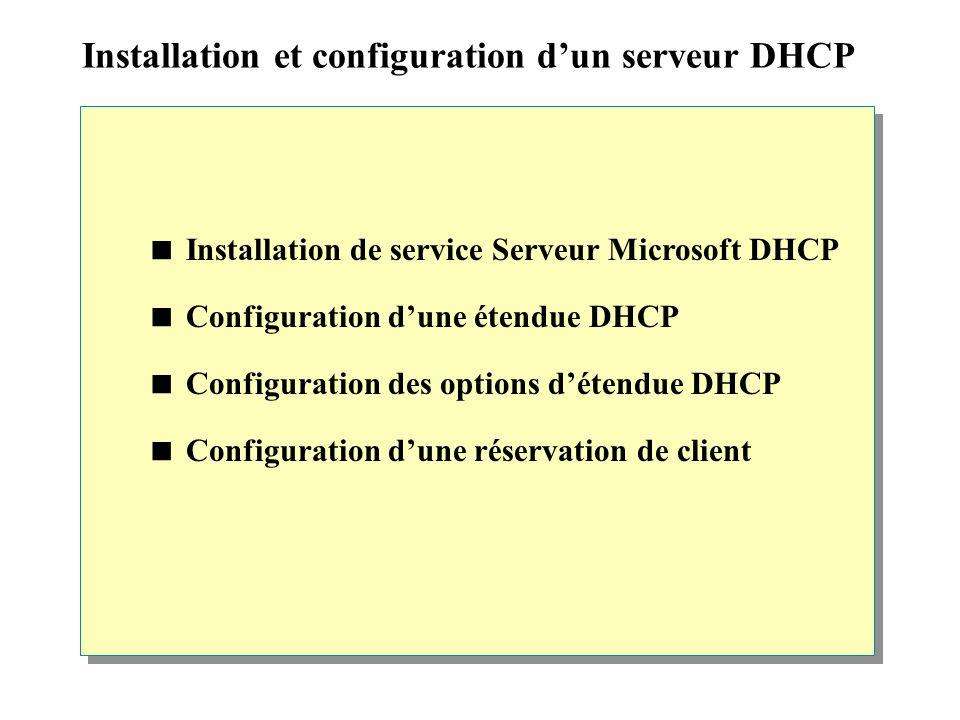 Installation et configuration dun serveur DHCP Installation de service Serveur Microsoft DHCP Configuration dune étendue DHCP Configuration des options détendue DHCP Configuration dune réservation de client