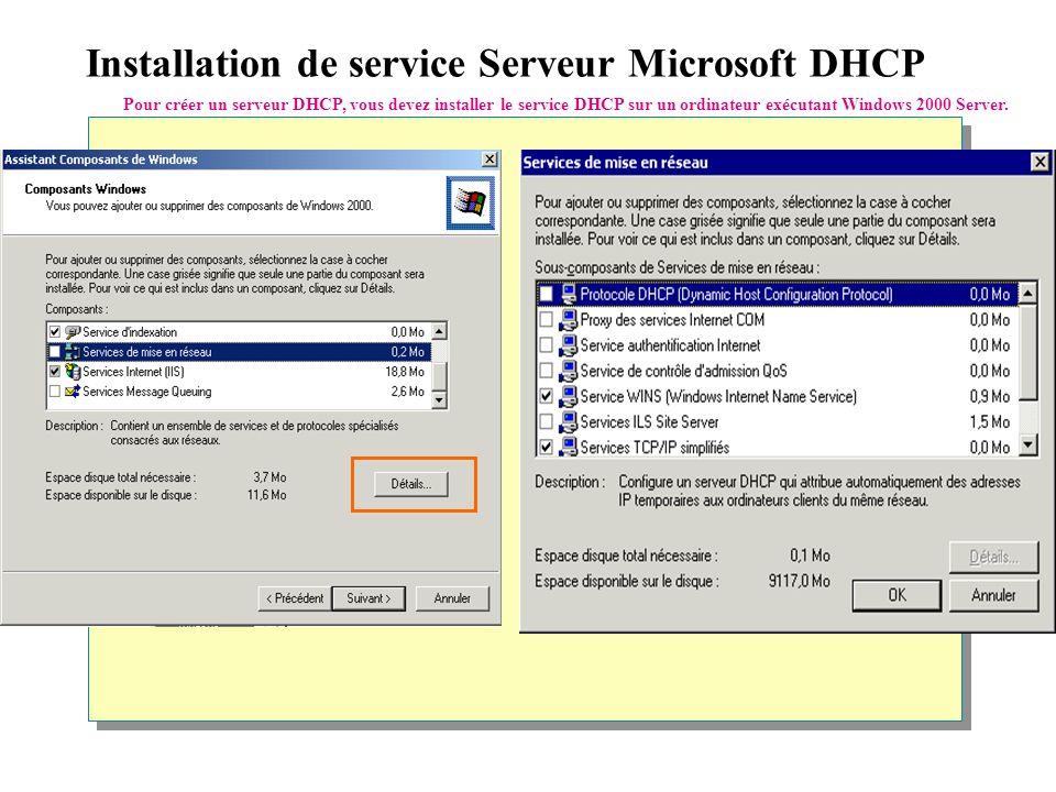 Installation de service Serveur Microsoft DHCP Pour créer un serveur DHCP, vous devez installer le service DHCP sur un ordinateur exécutant Windows 2000 Server.