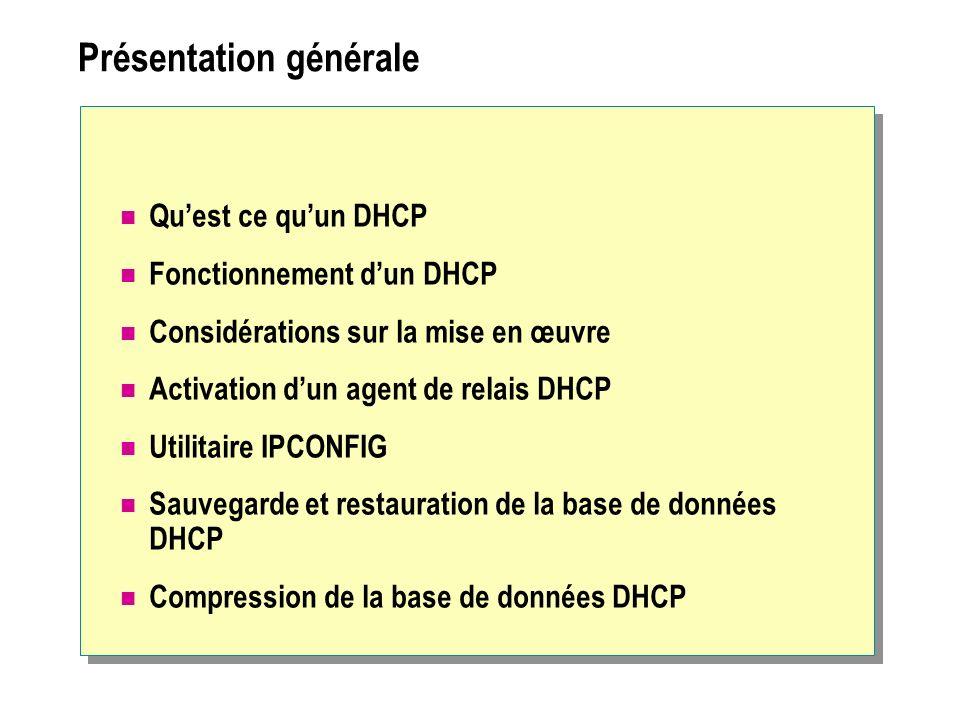 Présentation générale Quest ce quun DHCP Fonctionnement dun DHCP Considérations sur la mise en œuvre Activation dun agent de relais DHCP Utilitaire IPCONFIG Sauvegarde et restauration de la base de données DHCP Compression de la base de données DHCP