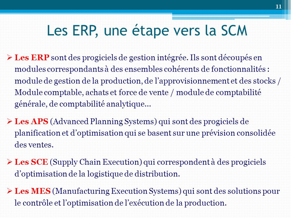 Les ERP, une étape vers la SCM Les ERP sont des progiciels de gestion intégrée.
