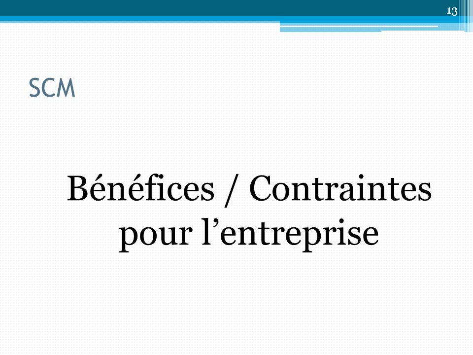 SCM Bénéfices / Contraintes pour lentreprise 13