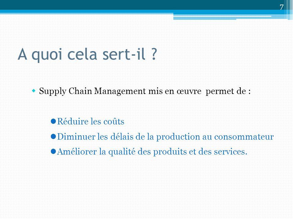 Supply Chain Management mis en œuvre permet de : Réduire les coûts Diminuer les délais de la production au consommateur Améliorer la qualité des produits et des services.