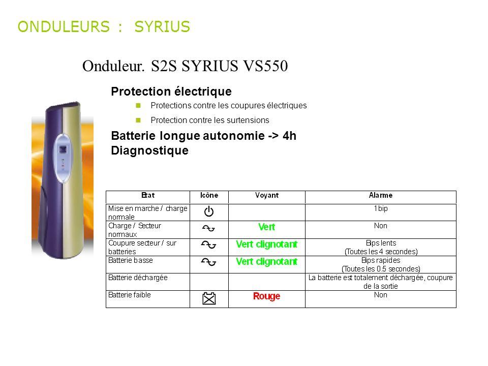 Onduleur. S2S SYRIUS VS550 ONDULEURS : SYRIUS Protection électrique Protections contre les coupures électriques Protection contre les surtensions Batt