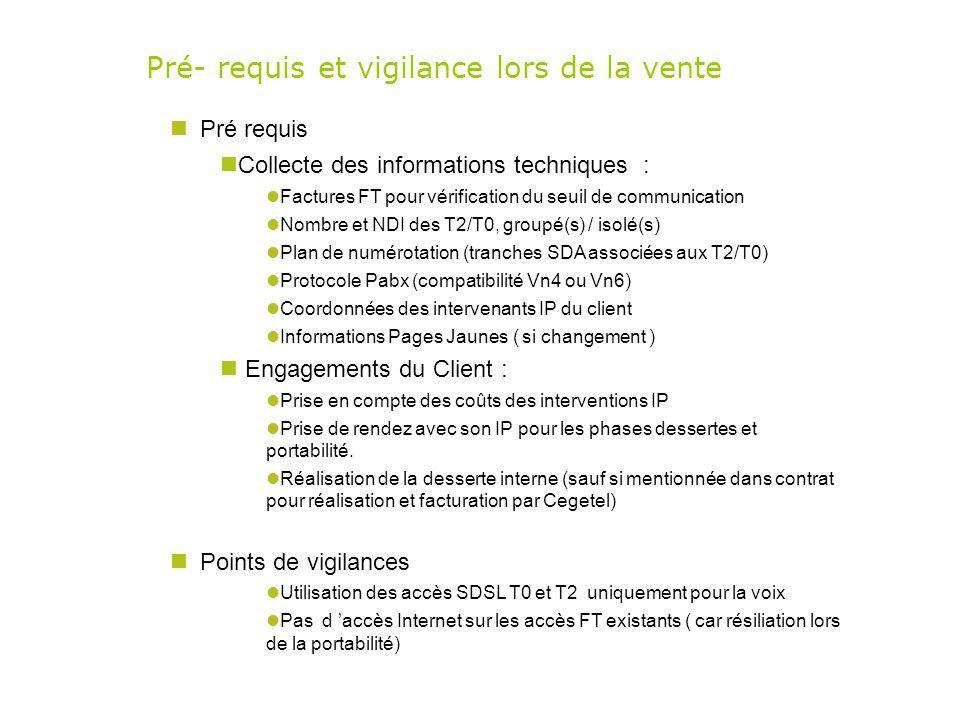 Pré- requis et vigilance lors de la vente Pré requis Collecte des informations techniques : Factures FT pour vérification du seuil de communication No
