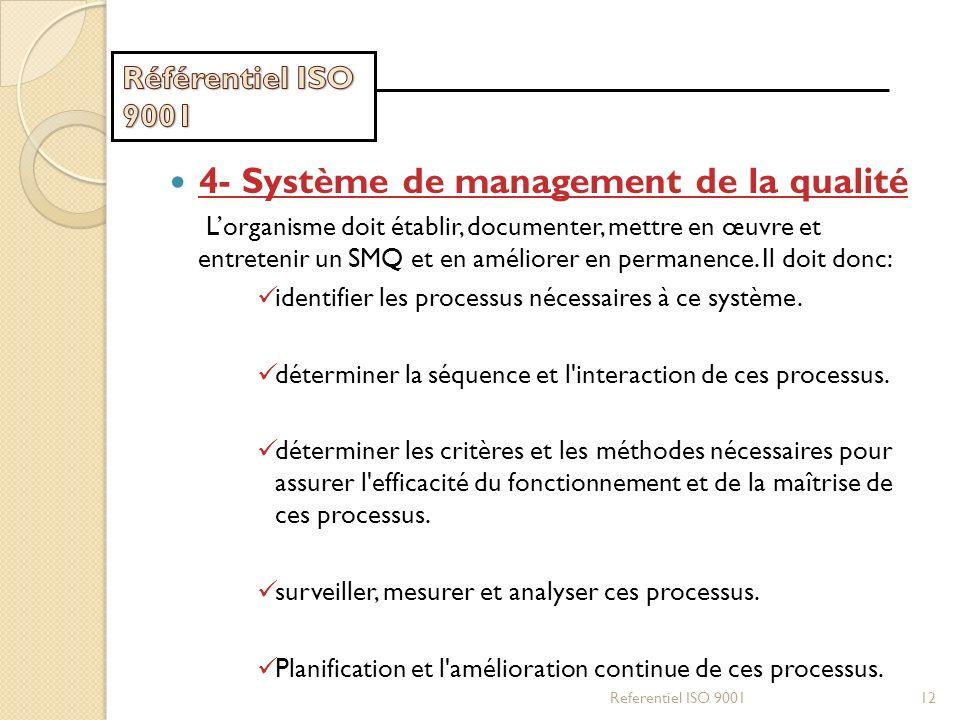 4- Système de management de la qualité Lorganisme doit établir, documenter, mettre en œuvre et entretenir un SMQ et en améliorer en permanence. Il doi