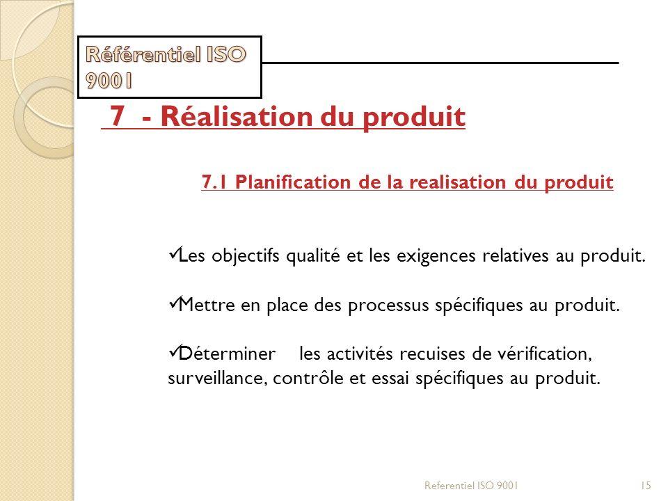 Referentiel ISO 900115 7 - Réalisation du produit 7.1 Planification de la realisation du produit Les objectifs qualité et les exigences relatives au p