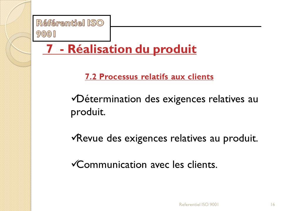 Referentiel ISO 900116 7 - Réalisation du produit 7.2 Processus relatifs aux clients Détermination des exigences relatives au produit. Revue des exige