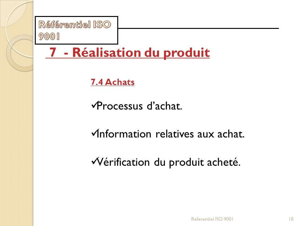 Referentiel ISO 900118 7 - Réalisation du produit 7.4 Achats Processus dachat. Information relatives aux achat. Vérification du produit acheté.