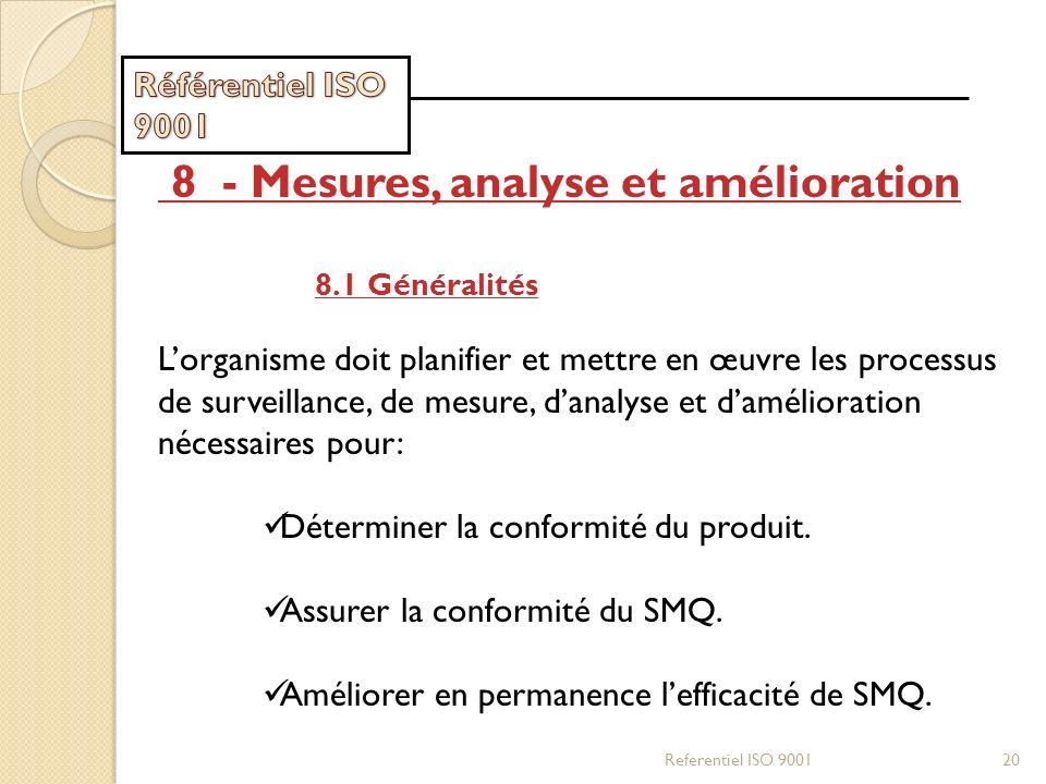 Referentiel ISO 900120 8 - Mesures, analyse et amélioration 8.1 Généralités Lorganisme doit planifier et mettre en œuvre les processus de surveillance
