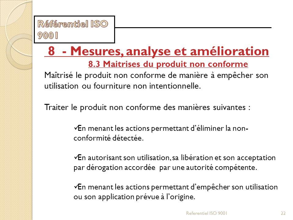 Referentiel ISO 900122 8 - Mesures, analyse et amélioration 8.3 Maitrises du produit non conforme Maîtrisé le produit non conforme de manière à empêch