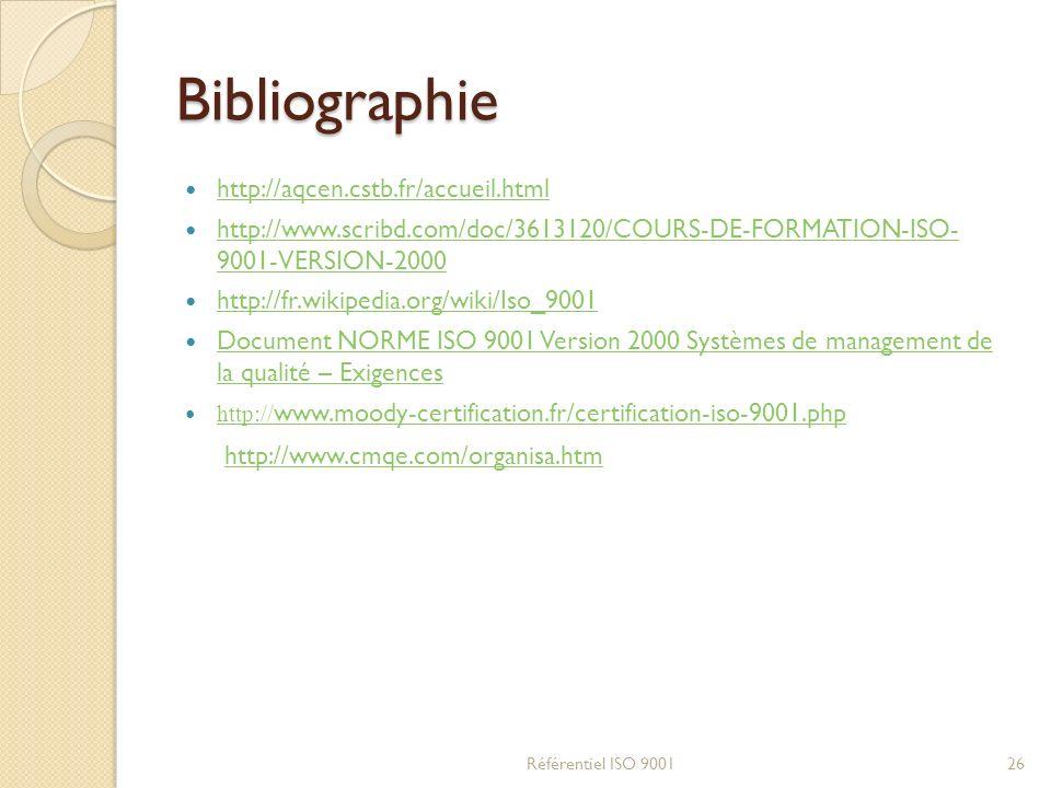 Bibliographie http://aqcen.cstb.fr/accueil.html http://www.scribd.com/doc/3613120/COURS-DE-FORMATION-ISO- 9001-VERSION-2000 http://www.scribd.com/doc/3613120/COURS-DE-FORMATION-ISO- 9001-VERSION-2000 http://fr.wikipedia.org/wiki/Iso_9001 Document NORME ISO 9001 Version 2000 Systèmes de management de la qualité – Exigences Document NORME ISO 9001 Version 2000 Systèmes de management de la qualité – Exigences http:// www.moody-certification.fr/certification-iso-9001.php http:// www.moody-certification.fr/certification-iso-9001.php Référentiel ISO 900126 http://www.cmqe.com/organisa.htm