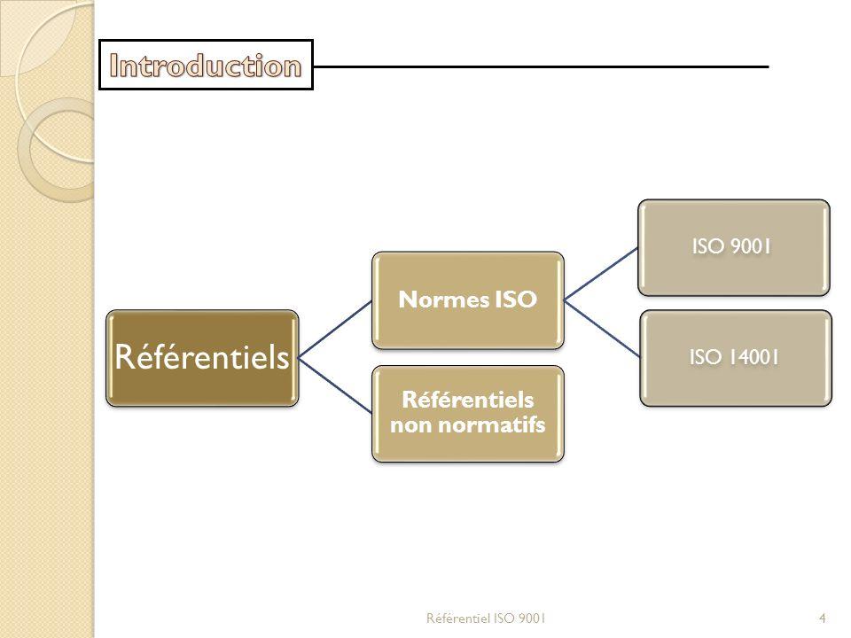Référentiels Normes ISO ISO 9001ISO 14001 Référentiels non normatifs Référentiel ISO 90014