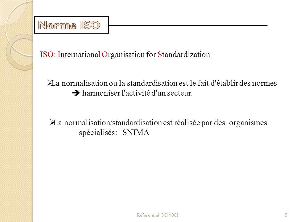 ISO: International Organisation for Standardization La normalisation ou la standardisation est le fait d'établir des normes harmoniser l'activité d'un