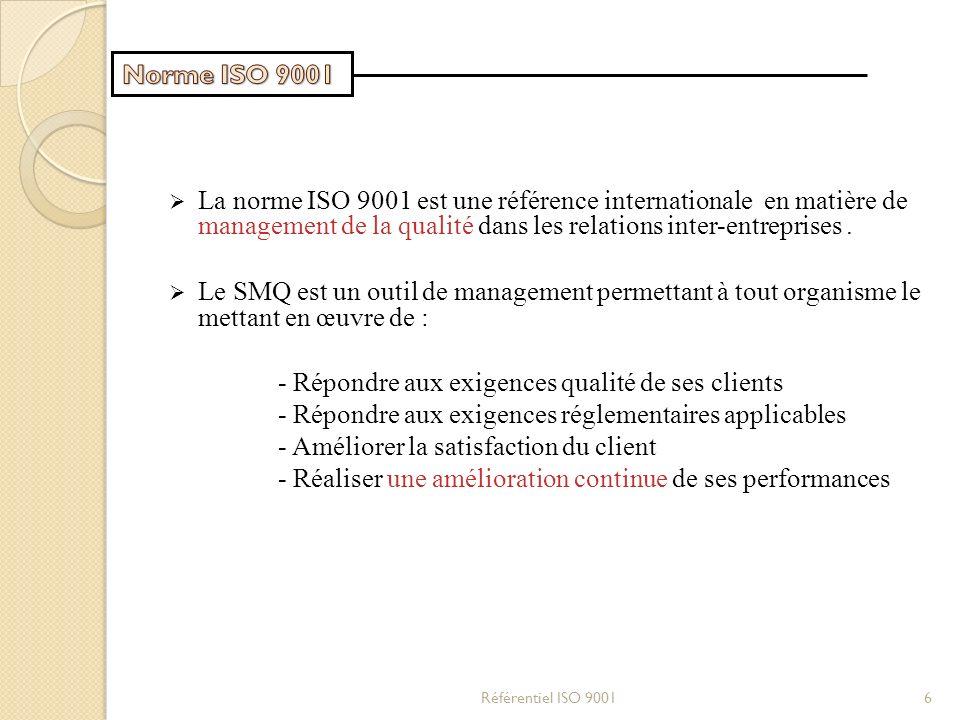 La norme ISO 9001 est une référence internationale en matière de management de la qualité dans les relations inter-entreprises. Le SMQ est un outil de