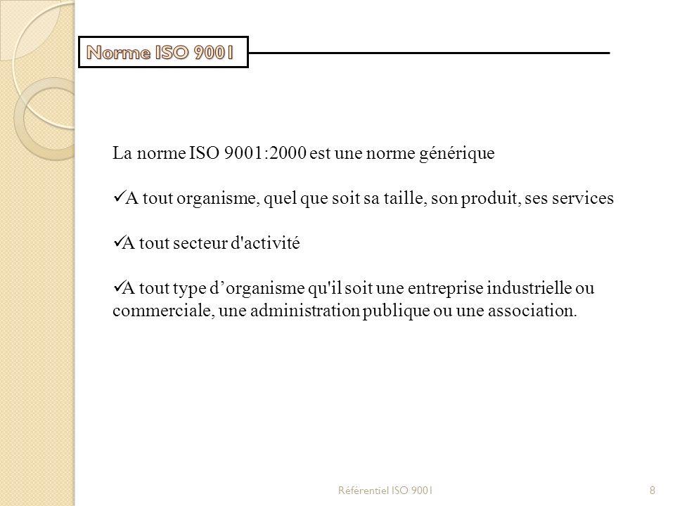 La norme ISO 9001:2000 est une norme générique A tout organisme, quel que soit sa taille, son produit, ses services A tout secteur d'activité A tout t