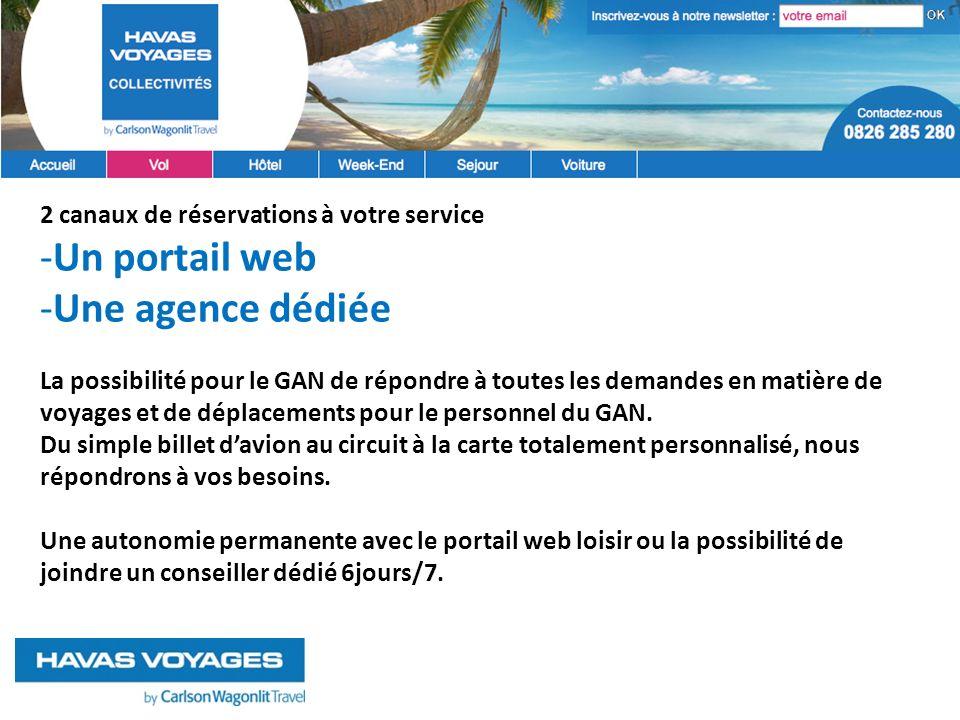 2 canaux de réservations à votre service -Un portail web -Une agence dédiée La possibilité pour le GAN de répondre à toutes les demandes en matière de voyages et de déplacements pour le personnel du GAN.
