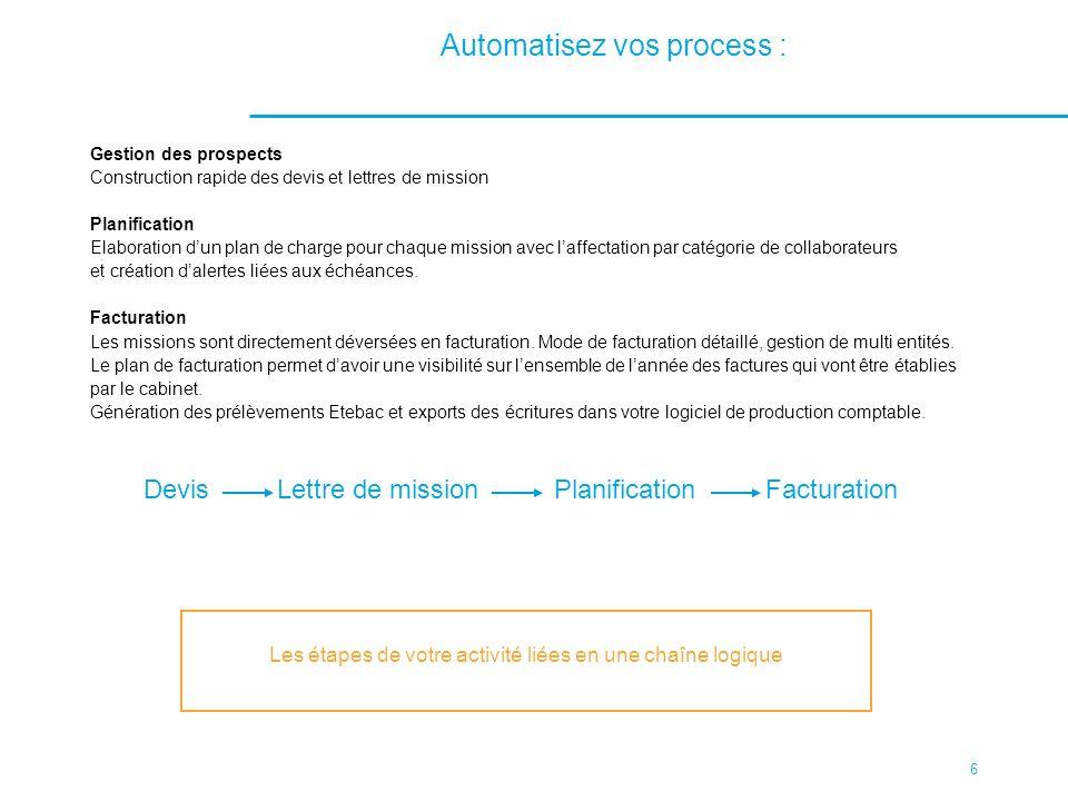 6 Automatisez vos process : Gestion des prospects Construction rapide des devis et lettres de mission Planification Elaboration dun plan de charge pou