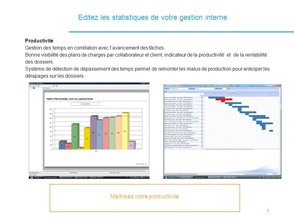7 Editez les statistiques de votre gestion interne Productivité Gestion des temps en corrélation avec lavancement des tâches. Bonne visibilité des pla