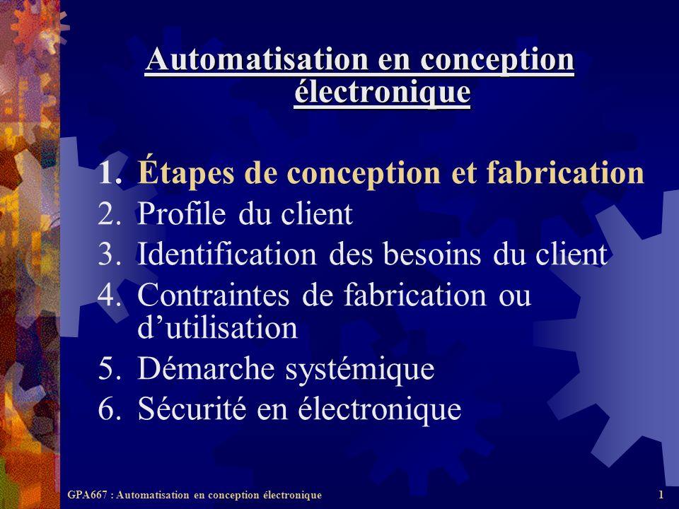 GPA667 : Automatisation en conception électronique1 Automatisation en conception électronique 1.Étapes de conception et fabrication 2.Profile du clien